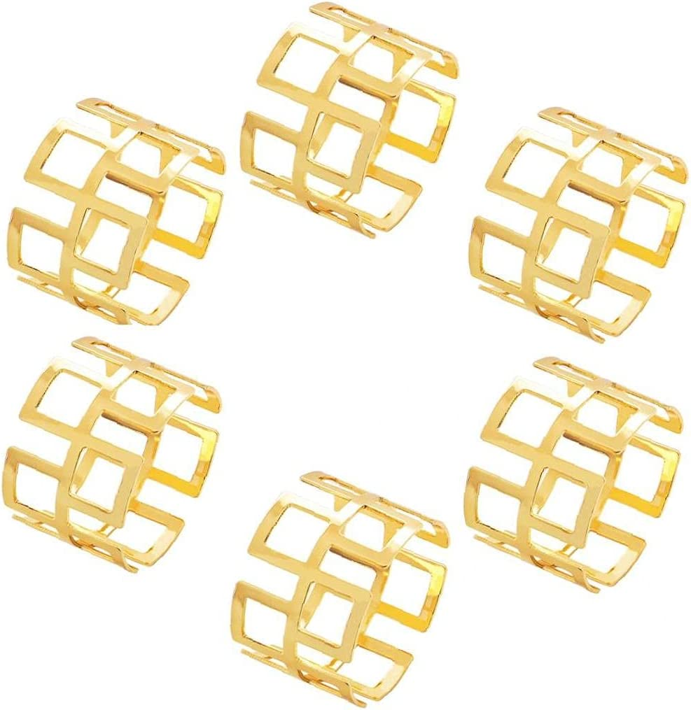 Tuimiyisou 6PCS Max 88% OFF Napkin Rings Holder M Shape Square Austin Mall Hollow
