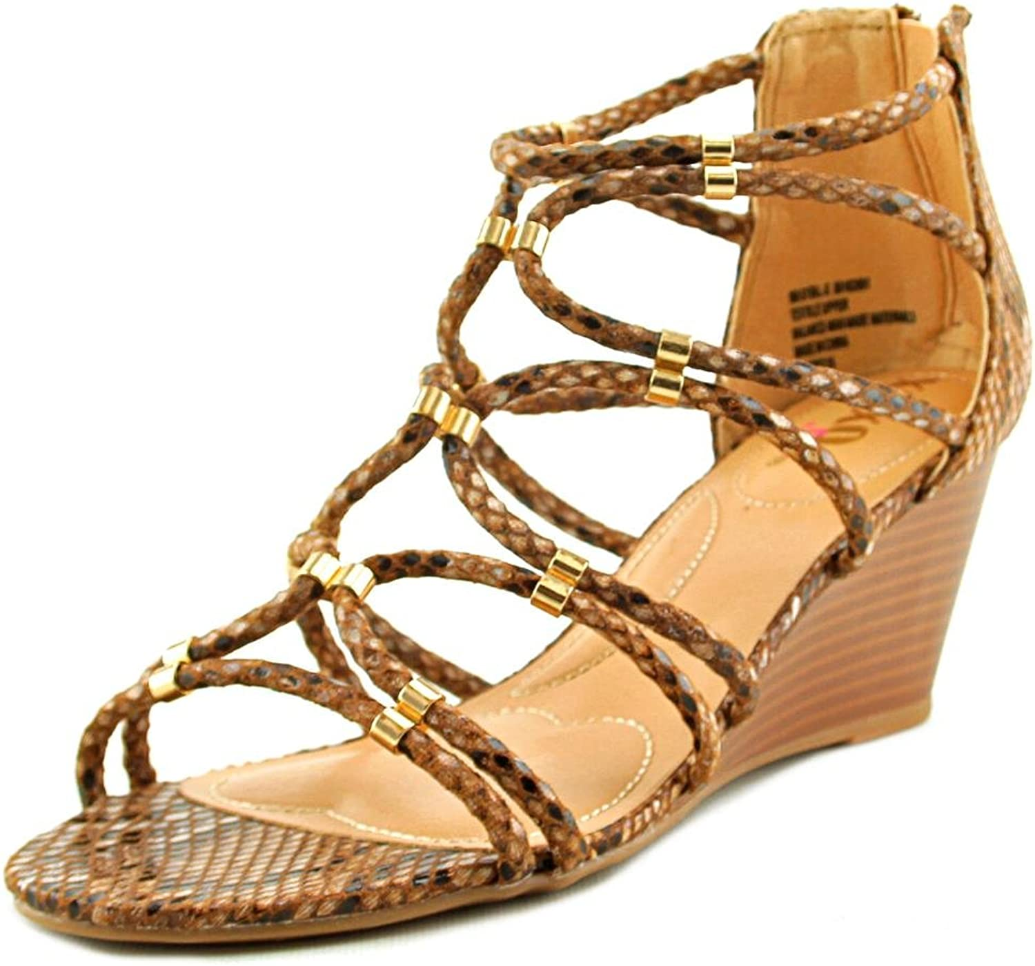 XOXO Womens Sybil Open Toe Ankle Strap Wedge Pumps, Tan Snake, Size 6.5