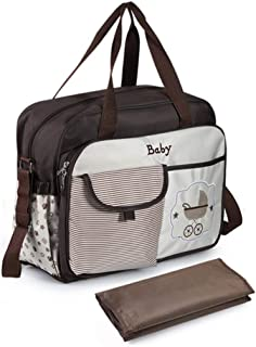Large-Capacity Multi-Functional Fashion Shoulder Bag, Cross-Body Waterproof Mummy Bag, Mother and Baby Out Bag, with Diape...