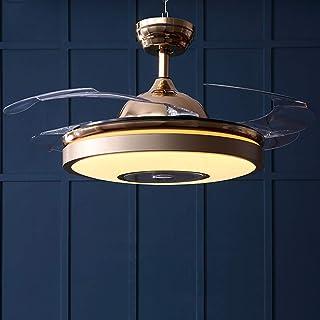 EnweLampi Acrílico Estilo Rústico Ventilador De Techo, Lámpara LED Invisible para Ventilador De Techo, 4 Aspas Retráctiles con Ventiladores Integrados (Potencia 38 W)