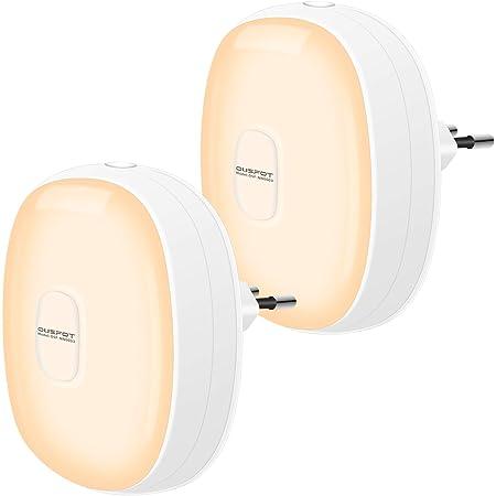 Veilleuse LED 2pcs OUSFOT Veilleuse Prise Electrique 1200mAh Batterie avec Capteur de Lumière Veilleuse Enfant Rechargeable Lampe Nuit pour Chambre Bébé, Couloir, Cusine Blanc Chaud