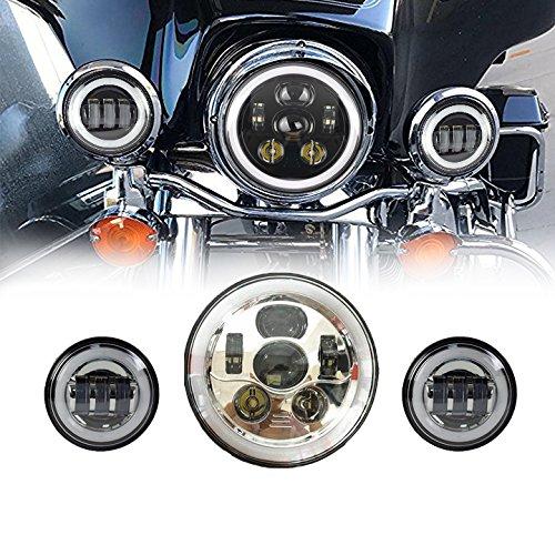 Un phare 45 W LED rond de 7 pouces avec drl Blanc lumière clignotant Ambre Angel Eyes lumière de Route lumière de croisement + 2 phares de brouillard 30 W phares anti-brouillard pour de 4.5 pouces avec Angel Eyes pour moto/Moto Harley Davidson (3 pièces). Chrome, jaune