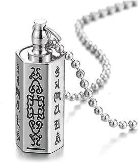 COOLSTEELANDBEYOND Steel Cylinder Pill Box Memorial Holder Stash Locket Hexagon Pendant Necklace, Screw Head, Tibetan