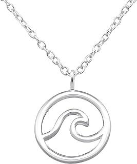 Monkimau Collar de mujer con colgante de onda surfera, de plata de ley 925 auténtica con cadena de 45 cm