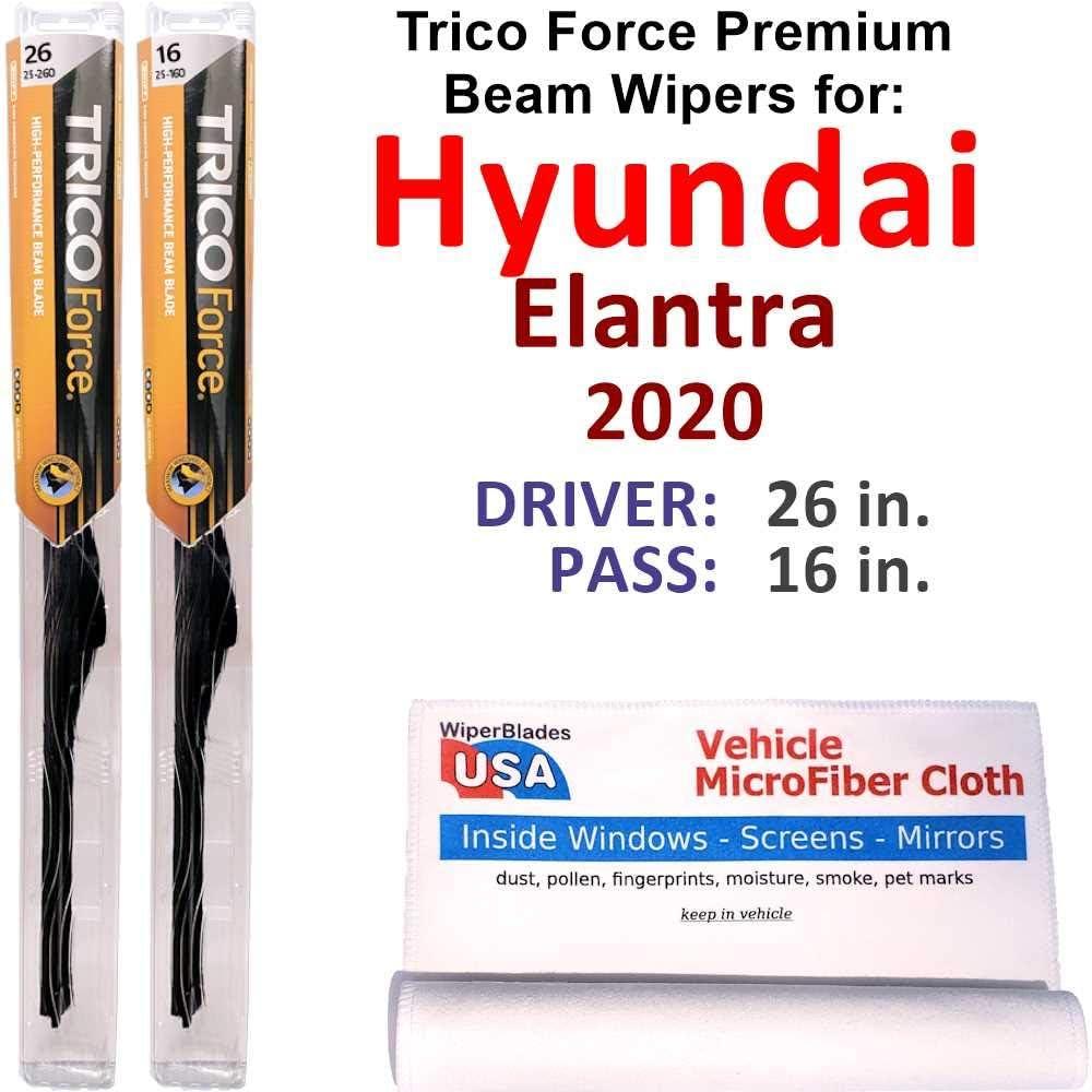 Premium Beam Wiper Blades for Direct store 2020 Trico Set Elantra For Hyundai Great interest