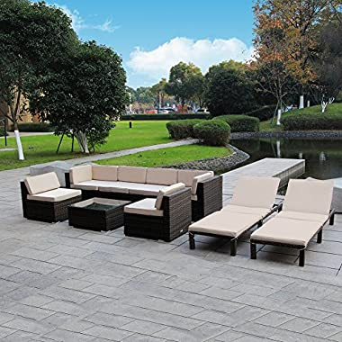 MAGIC UNION Outdoor Patio PE Rattan Wicker Cushion Patio Furniture 9 Pieces Sofa Set