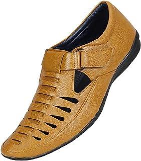 Emosis Men's Outdoor Formal Casual Ethnic Loafer Slip-On Sandal Shoe (Size: 9 UK, Color: Tan)