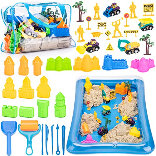 Play Sand for Kids, 3lbs Magic Sand, Building Castle Sand Molds Tools, Construction Trucks, Construction Toys and Signs, Sand Tray and Storage Bag, 43PCS Sandbox Toys Set for Toddlers Kids Boys Grils