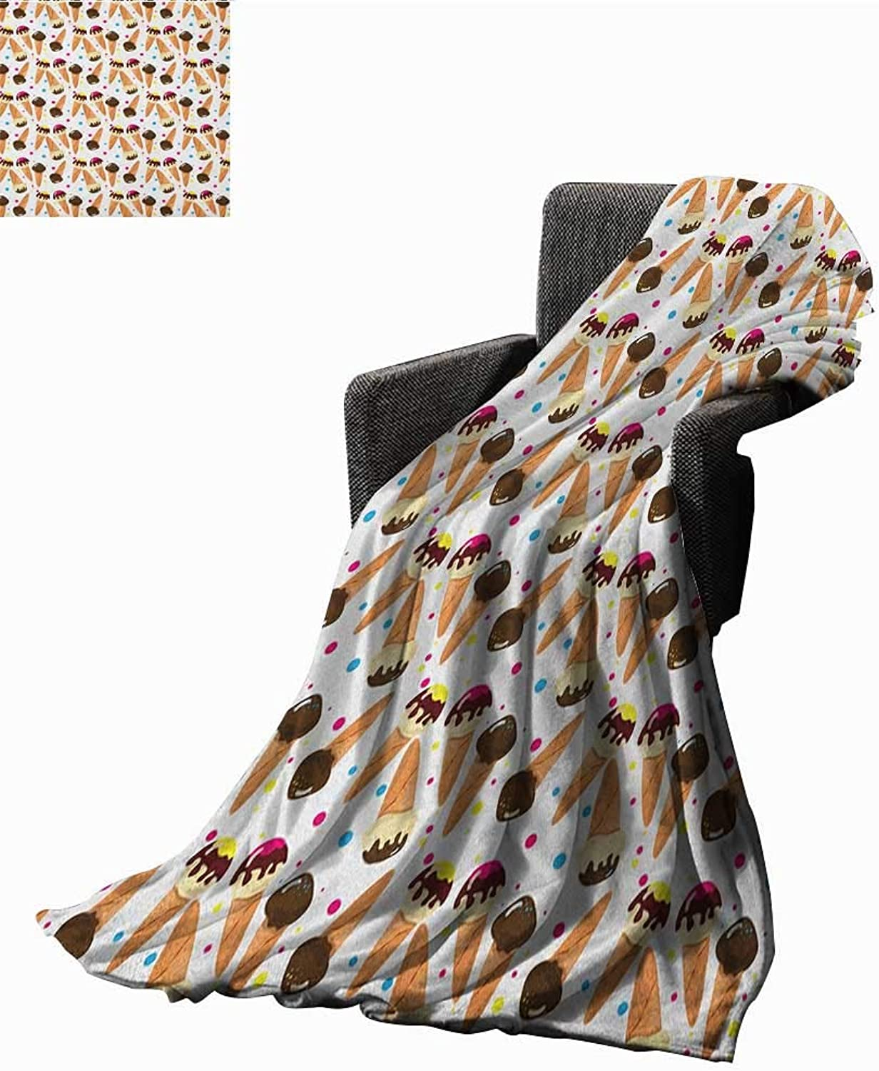 Sunsunshine Bed or Couch 60  x 35 Ice Cream Microfiber All Season Blanket Chocolate Covered Ice Cream with colorful Little Dots Frozen Desert Waffle Cones Lightweight All-Season Blanket Multicolor