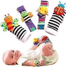 4pcs Juego de Traqueteo de Calcetines para Mu/ñeca Beb/é Kit 8 Piezas Gudotra 4pcs Calcetines Suaves para Ni/ños Regalo para Beb/és Reci/én Nacidos
