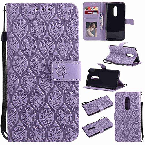 pinlu® PU Leder Tasche Handyhülle Für ZTE Axon 7 (5.5zoll) Smartphone Wallet Hülle Mit Standfunktion & Kartenfach Design Rattan Blume Prägung Lila