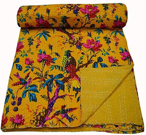 Colcha reversible con patrón floral turquesa Gudri de algodón puro estilo Kantha, tamaño individual, colcha de cama con estampado floral y frutas, colcha decorativa Kantha Stitch de algodón puro reversible