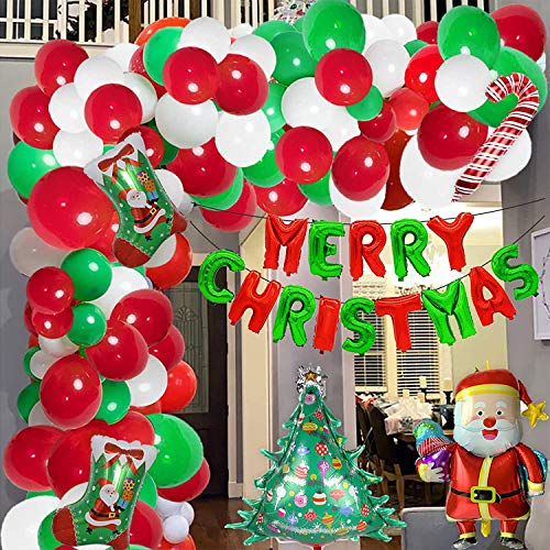 147Pcs Christmas Balloon Garland Arch Kit-Christmas Banner Balloon|Candy Stick|Christmas Tree|Christmas Stocking Aluminum Foil Balloon Red Green White Arch Balloon Christmas Holiday Party Decoration
