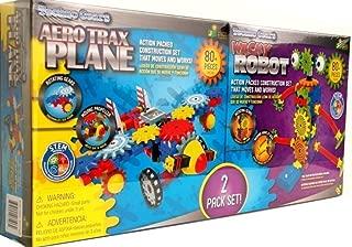Techno Gears 2 Pack Set Aero Trax Plane & Wacky Robot 80 Pieces Each
