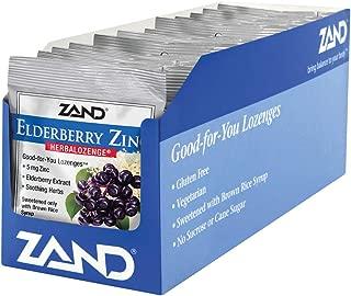 ZAND Herbalozenge Lozenges, Elderberry Zinc, 15 lozenge bag, 12 Count