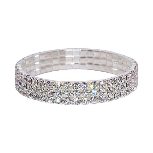 8e6945505 Weiss Rhinestone Stretch Bracelet Silver - Genuine Crystal - Bridal,  Wedding, Prom, Party