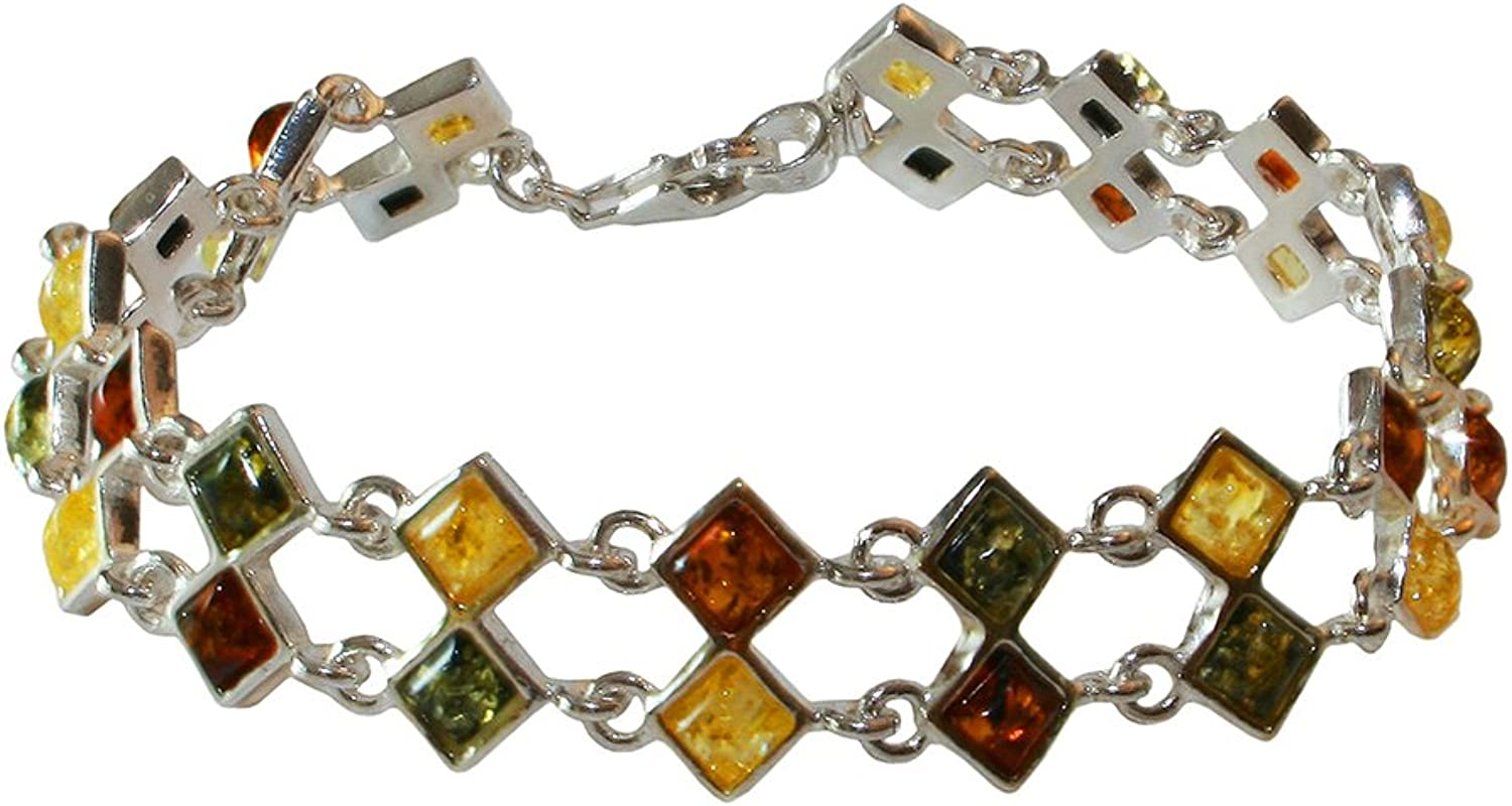 Sterling Silver Bracelet with Rhombus Shaped Amber