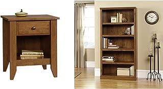 Sauder Shoal Creek Night Stand, Oiled Oak + Sauder 5-Shelf Bookcase, Oiled Oak Finish_Bundle