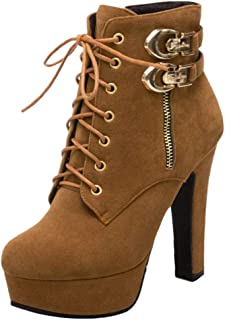 COOLCEPT Mujer Plataforma Botas de Tobillo Cremallera Tacón Alto Otoño Zapatos
