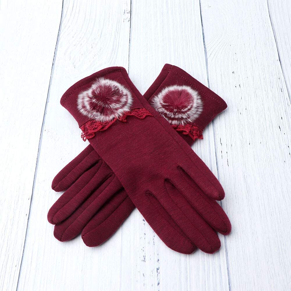 FASGION New Winter Female Thermal Touch Screen Gloves Soft Floral Ball Cotton Mittens Double Thick Plush Wrist Women Driving Gloves (Color : Red)