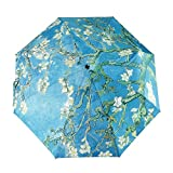 GLODEALS Automatic Umbrella, Creative Oil Painting Automatic Folding Umbrella Anti UV Sunblock Umbrella Sun Protection Parasol Rain/Sun Umbrella for Ladies (Almond Blossom)