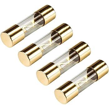 X Autohaux 5stk Kunststoff Rohrsicherung 100a Gold Ton Plattiert Agu Sicherung Für Auto Auto
