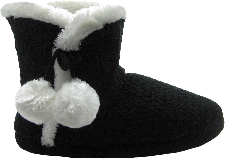 Fashion bluee Adorable Women's Knit Boot Slippers w Faux Fur Trim & Pom-poms bluee
