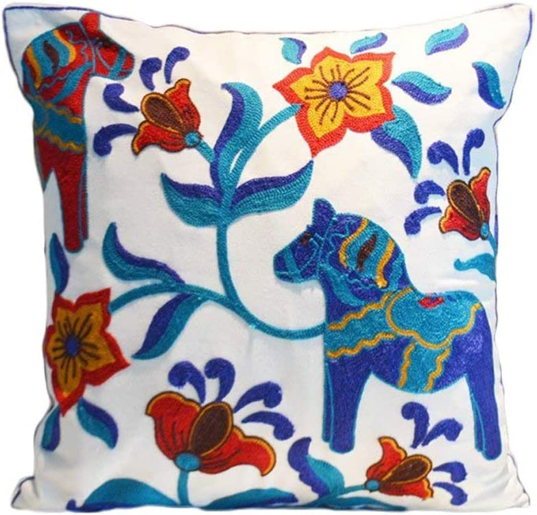Floral Pattern Throw Pillow Cover Raleigh Mall Ethnic Embroidered Pillowcase At the price of surprise