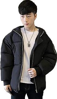 (ニカ) メンズ ダウンジャケット ハンサム ゆったり 無地 冬 黒/グレー/ホワイト/韓国風 中綿コート 厚手 フード付き 原宿風 カッコイイ