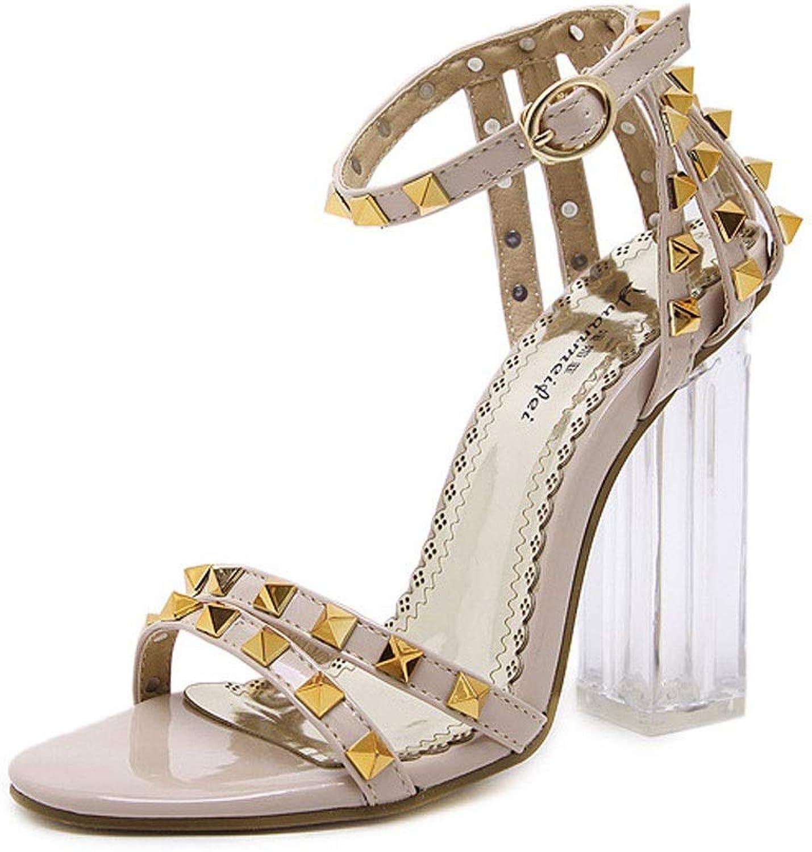 FELICIOO Damen Sandalen Sommer Nieten transparente offene offene offene Zehen Dicke High Heels (Farbe   Aprikosen, Größe   40)  37bf76