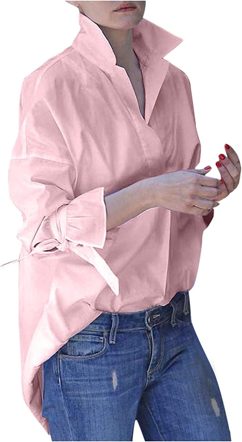 Women's Casual Solid Color Elegant Business Long Sleeve White Shirt Tops V-Neck Office Blouses Tops Button
