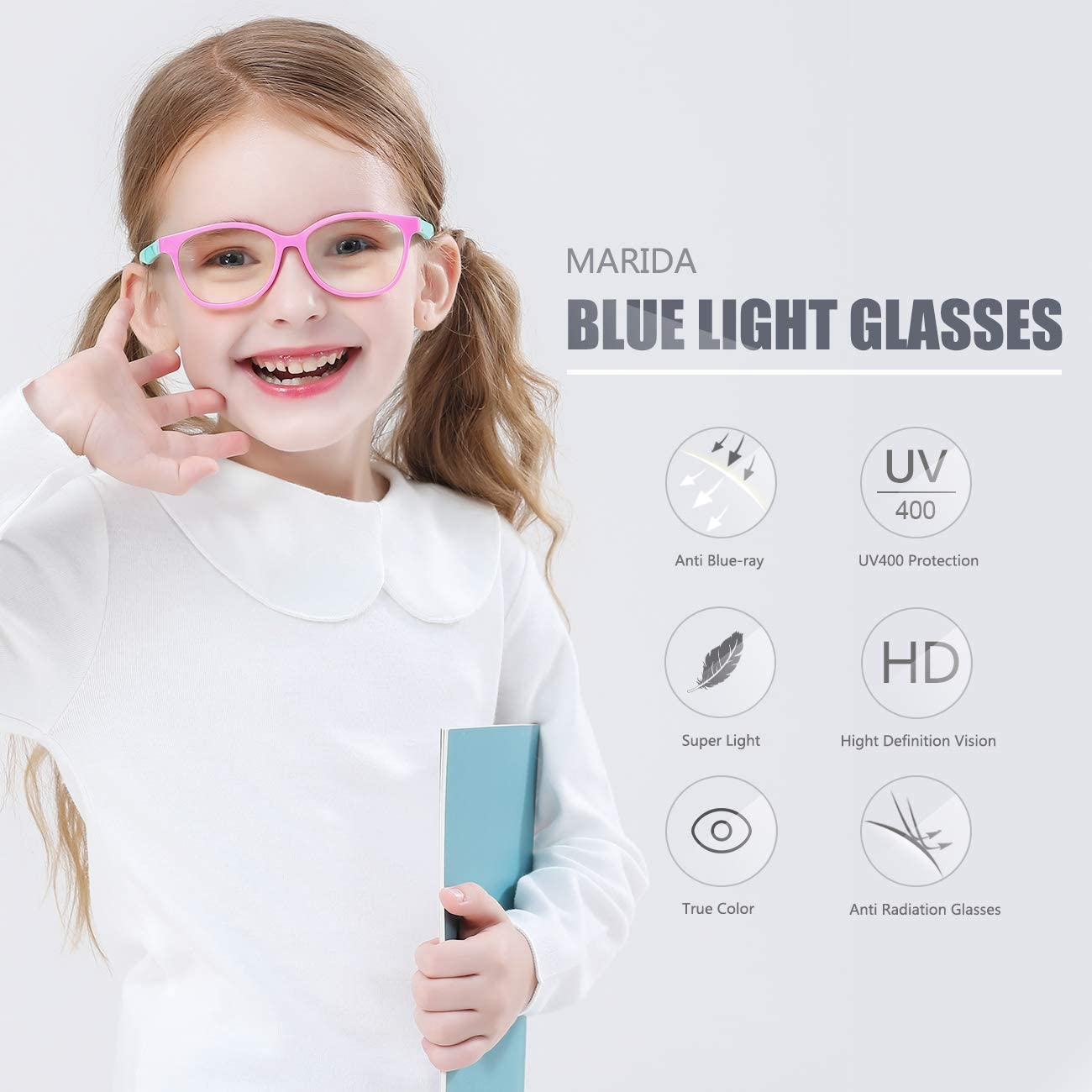 Smartphone Screens Boys Girls Age 3-10 Black MARIDA Kids Blue Light Blocking Glasses Strap Computer and Gamer Eyewear Anti-Glare Protection Anti-Eyestrain Anti UV Glasses for Computer or Tv
