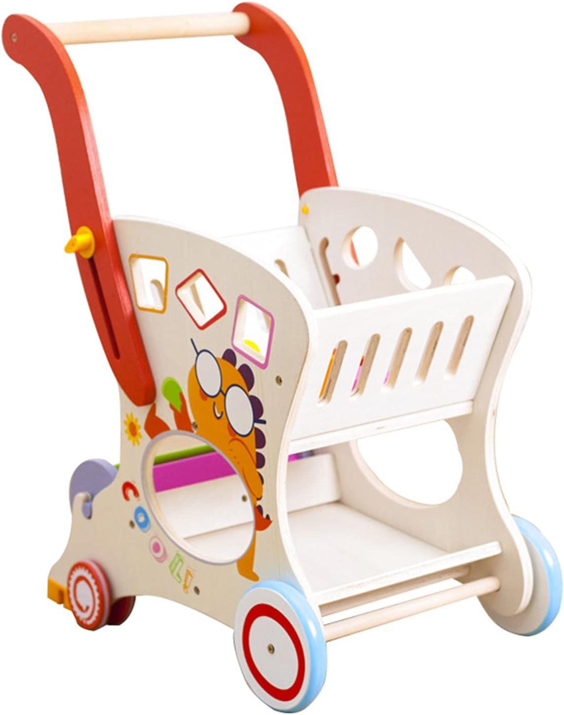 Wooden Shopping Trolley Little Shopper Role Play Pretend Food Ki