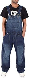 X-xyA Casual Loose Denim Bib Overalls for Men Dungarees Work Jeans Jumpsuits with Multiple Pockets,4XL