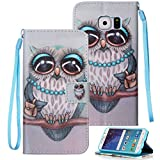 Etubby Galaxy S6 Case, S6 Case, Galaxy S6 Wallet Case, [Wallet Stand] PU Leather Wallet Flip Protective Case with Card Slots and Wrist Strap for Samsung Galaxy S6 (2015) - Owl