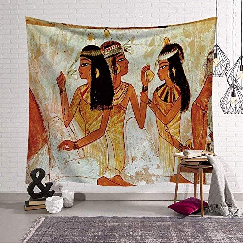 Yhjdcc Tapiz decorativo étnico para pared de Egipto antiguo para mujer, tapiz para colgar en la pared, para dormitorio, colegio, sala de estar, 150 cm x 200 cm