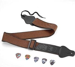 Sangle de Guitare Pour Guitares Basses, électriques et Acoustiques,Courroie de Guitare Confortable et Respirante Avec 3 Po...