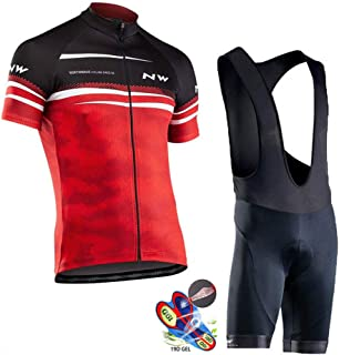 Cycling Jersey Set for Men Quick-Dry Road Bike Bicycle Shirt + Bib Shorts with 19D Gel Padded MTB Riding Clothing Kit,A,XS