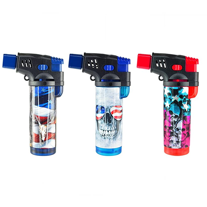 3 Pack Turbo Blue XXL Jet Flame Refillable Torch Lighter with Powerful Windproof Flame - Patriotic Designs