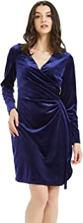 Basic Model Women's Velvet Long Sleeve Wrap Dress - Bodycon Tulip Hem V-Neck High Waist Gown
