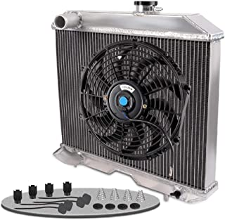 2 Row All Aluminum Radiator w/Cooling Black Fan (12 Inches Dia.) Kits For 1941-1952 Jeep Willys MB FORD GPW