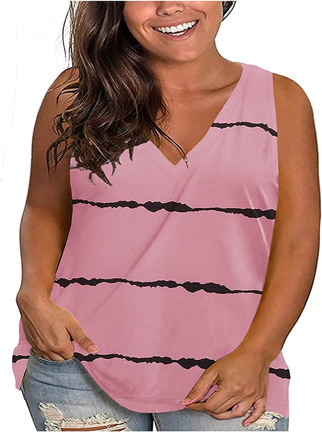 Muchy Women's Casual Plus-Size V-Neck Sacramento Mall Tops Lo Sleeveless OFFicial Striped