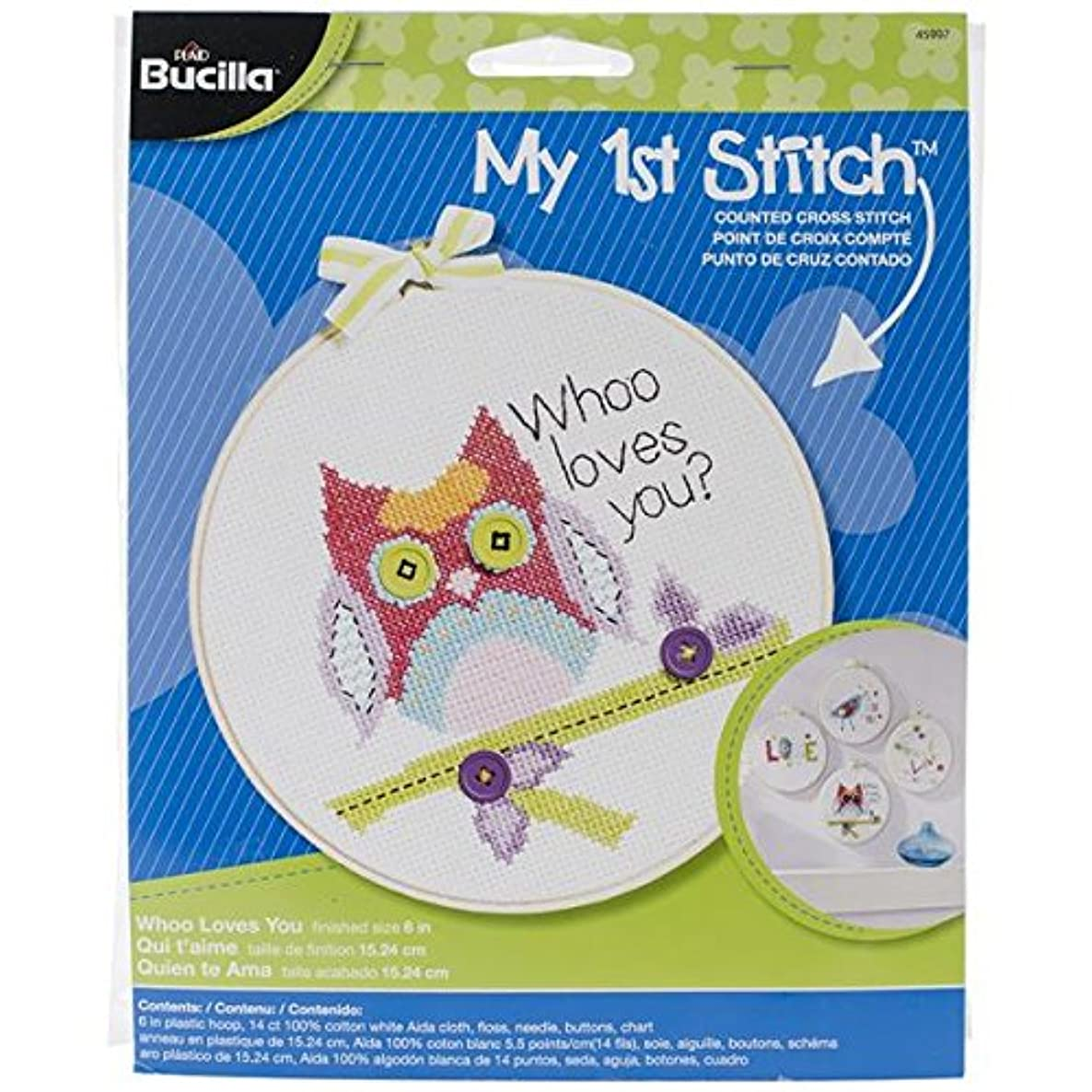 Bucilla My 1st Stitch Counted Cross Stitch Kit, 45997 Who Loves You