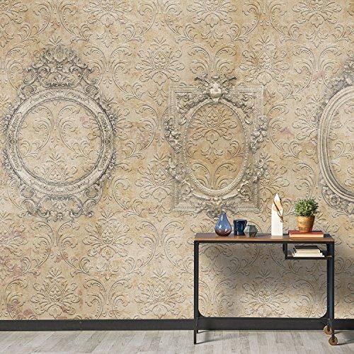 wall81 fresco' S Frames behang, cellulose en textiel milieuvriendelijk, beige/taupe/wit, maat L cm 456 x 300 H