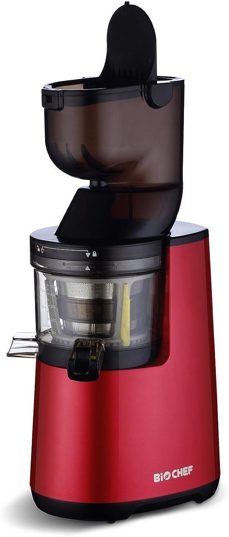 marca BioChef Atlas Whole Slow Juicer Juicer Juicer - Extractor de zumo, rojoación lenta con apertura ancha y motor de 250 W y 40 r min en Color rojo  muchas concesiones