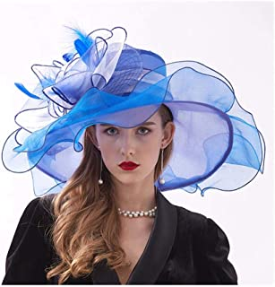 Women's Crimping Sun Hats Organza Wide Brim Feather Wedding Party Cap