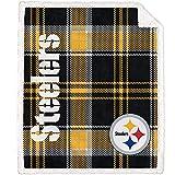 Pegasus Home Fashions Pittsburgh Steelers 60'' x 70'' Plaid Ultra Fleece Sherpa Throw Blanket