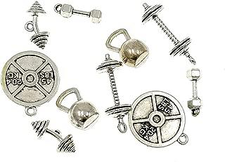 Kinteshun Alloy Fitness Bodybuilding Gym Sports equipments Charm Pendant DIY Jewelry Making Accessaries(10pcs,Antique Silver Tone)