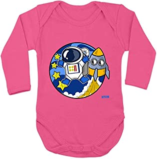 Hariz Baby Body de manga larga astronauta cohete astronauta estrella espacio Plus tarjetas de regalo unicornio fucsia 62-68