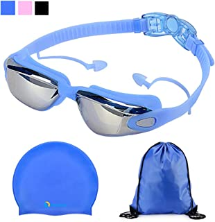 RealFeel Sport Swim Goggles Cap Set,  Anti Fog Attached Ear Plug UV Protection Swimming Goggles for Adult Men Women Youth,  No Leaking Ear Piece Swim Goggles with Silicone Swim Cap Drawstring Bag